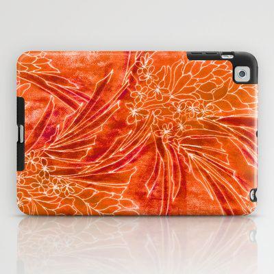 Spice Island iPad Case by Vikki Salmela - $60.00 #Hot #tropical #orange #floral #jungle #Hawaiian #batik #art on #tablets #iPad #cases as #tech #accessory for #home #office #travel by #vikkisalmela.