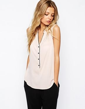 Enlarge J.D.Y Button Front Sleeveless Blouse