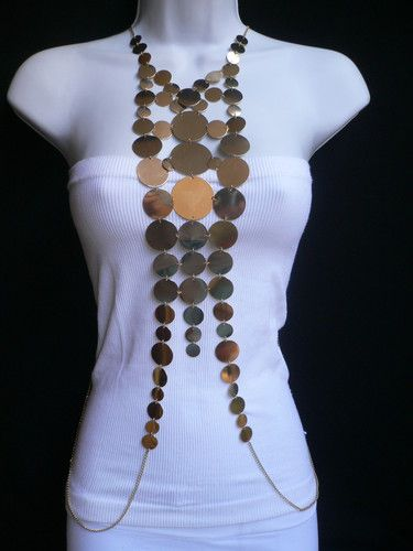 New Women Gold Retro Disco Balls Fashion Metal Body Chain Jewelry Long Necklace | eBay