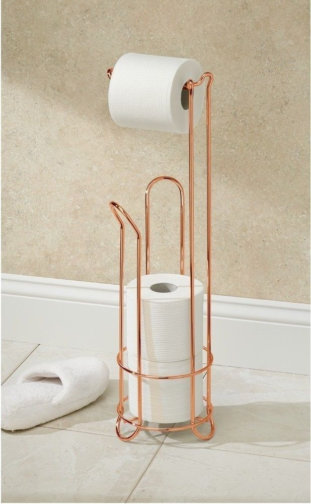 Bronze Floor Toilet Roll Holder takes 3 toilet rolls of toilet tissue and Dispenses 1 Roll of toi let paper, including jumbo rolls. Bathroom Paper Floor Storage Free Standing Tissue Bronze. Up to 3 spare Toilet Tolls are tidily stowed away in this practical holder from our Gold Free Standing Toilet Roll Holder.   eBay!