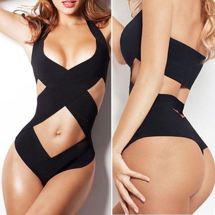 Details about Padded Bra Bikini Set Swimsuit Women Bandage Push-up Triangle Swimwear Bathing