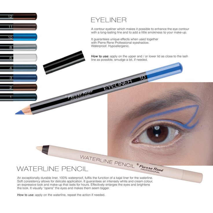 Eye pencils  A contour eyeliner which makes it possible to enhance the eye contour with a long-lasting line and to add a little smokiness to your make-up.   It guarantees unique effects when used together with Pierre Rene eyeshadow.  Waterproof. Hypoallergenic.  Waterline Pencil  An exceptionally durable liner, 100% waterproof, fulfils the function of a kajal liner for the waterline. Soft consistency allows for delicate application. It guarantees an intensely white and cream colour, an…