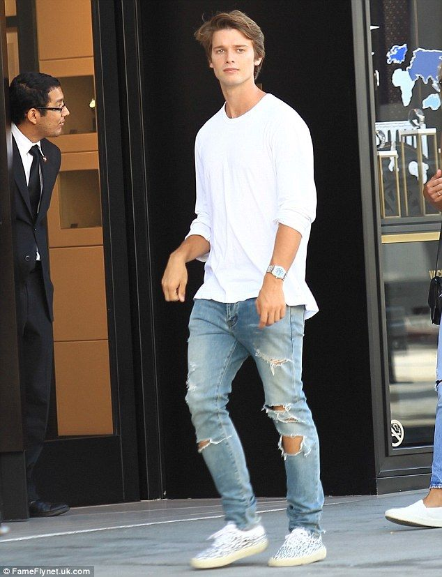 Day out: Patrick Schwarzenegger cut a casual figure while out in Beverly Hills with friends
