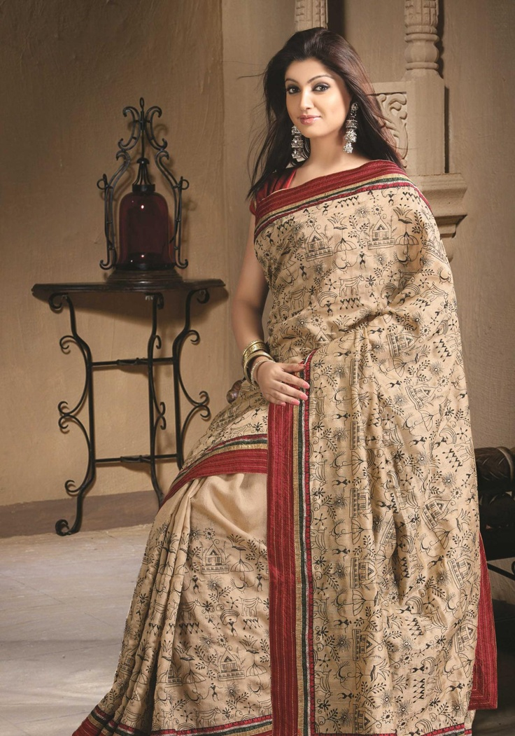 Brown Art Silk Saree 19363 With Unstitched Blouse