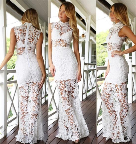 Red Party Dresses For Women Us Fashion Sexy Hollow Out Long Dresses Women Ladies Sleeveless High Neck See Through Party Dresses Red Party Dresses Uk From Jessiebee, $36.29| Dhgate.Com