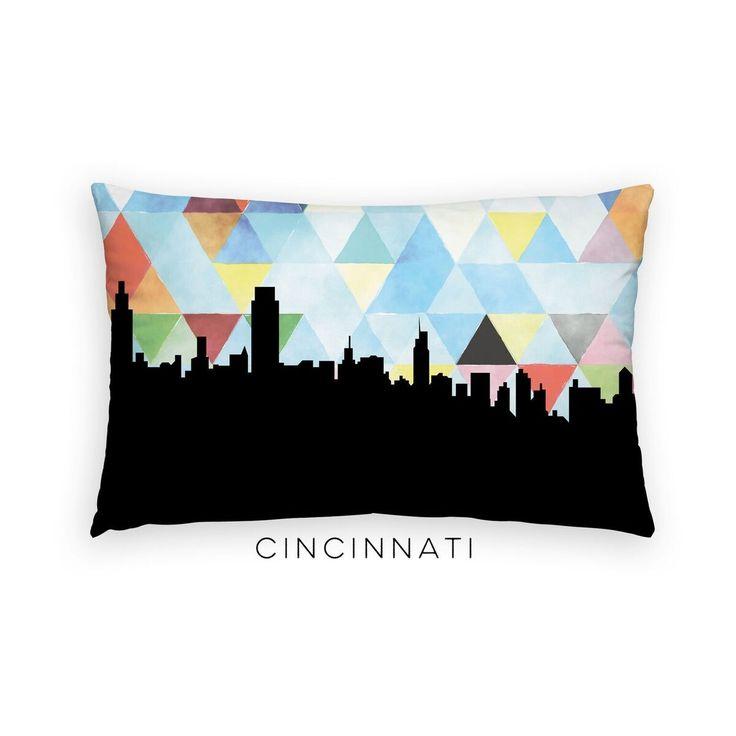Cincinnati Skyline Geometric Pillow   Blue