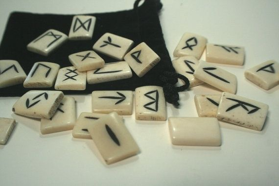 Sacred Viking Rune Set Handcrafted Water Buffalo Bone in the Elder Futhark tradition 25 stones via SisterMoonsCastle. Click on the image to see more!