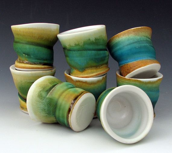 2 STONEWARE SHOT CUPS / Stoneware Shooters / by OffCenterClay, $10.00