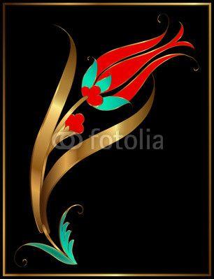 Vector: Altın Yaldız Lale Desen İllüstrasyonu