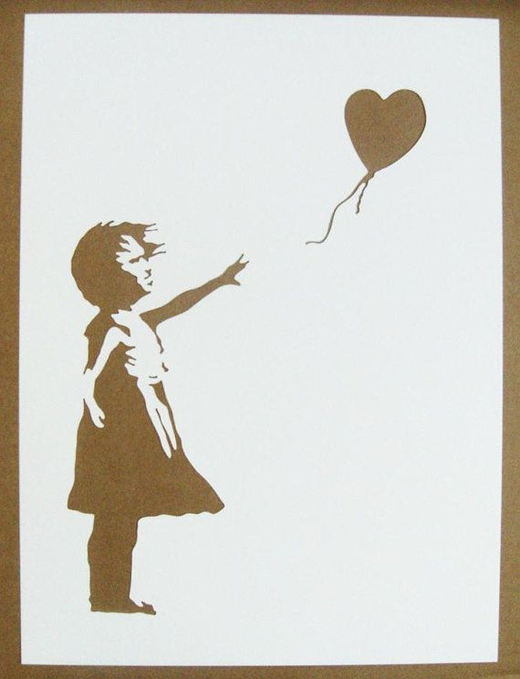 BANKSY Stencils Set Of Five Girl With Balloon, Bomb Hugger, Fallen Angel, Grin Reaper, Love Is In The Air Graffiti