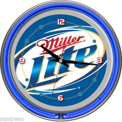 Miller Light Blue Neon Wall Clock 14 inch diameter