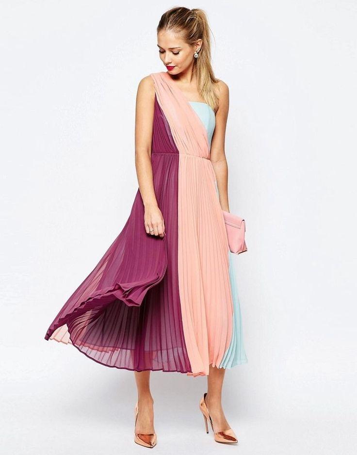 Color block dresses for wedding guests summer 2018