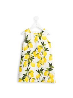 lemon print brocade dress