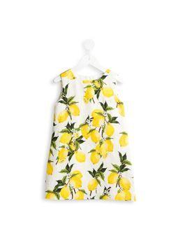 lemon print brocade dress