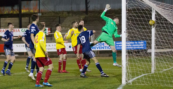 Queen's Park's Anton Brady's shot crosses the line during the Ladbrokes League One game between Albion Rovers and Queen's Park.