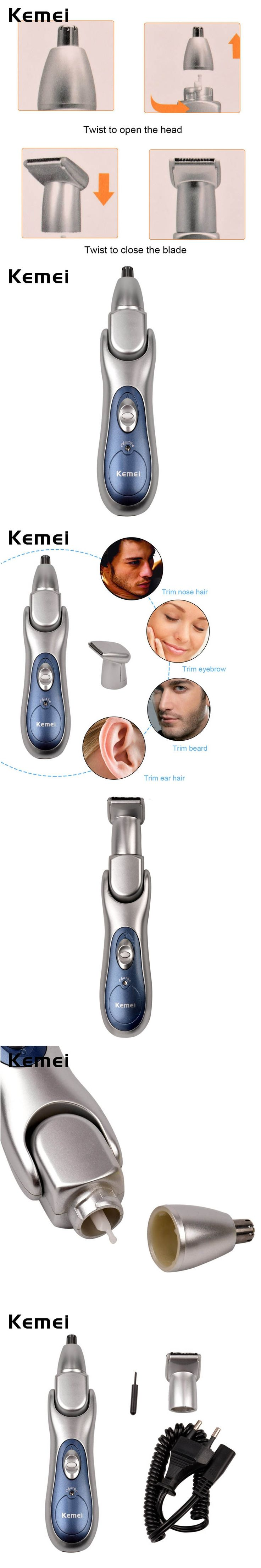 2-In-1 Nose/Ear Hair Removal Electric Rechargeable Face Care Shaving Trimmer for Temple Eyebrow Beard RCS96SQ-G00