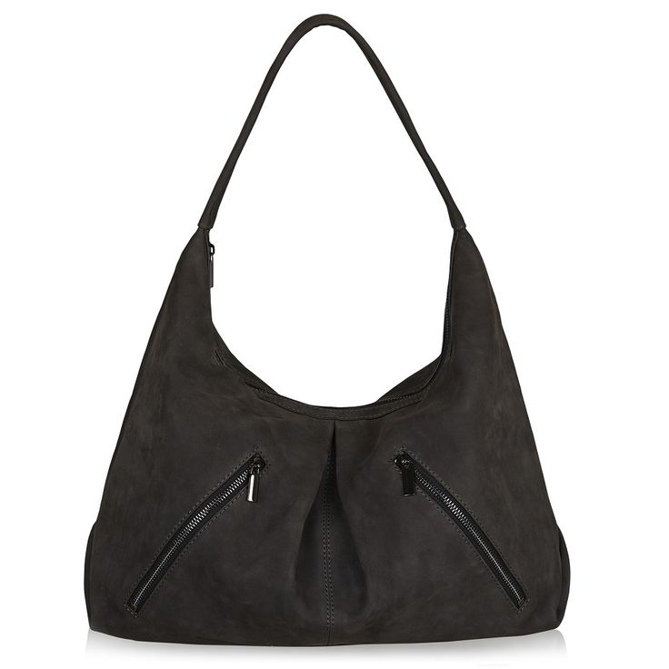 Naledi Copenhagen Nb28 2-zip hobo Dark Grey nubuck with gun metal hardware