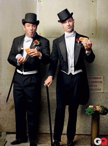 Trey Parker and Matt Stone, the creators of the tv show South Park and the Broadway show The Book of Mormon.