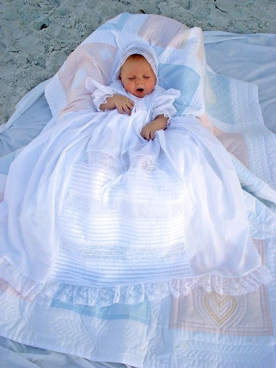 Lace and Tucks Baby Christening Gown by CLDaugherty on Etsy, $450.00  * I love this! Its beautiful!