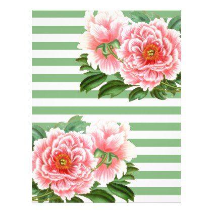 Pink Peonies Green Stripes Letterhead - romantic gifts ideas love beautiful