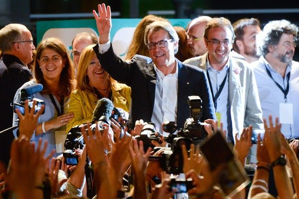President of Catalonia Artur Mas celebrates after the Catalanist coalition 'Junts pel Si' (Together for the Yes) claimed victory in the regional elections held in Catalonia on September 27, 2015 in Barcelona, Catalonia. The main Catalanist parties, Catalan Democratic Convergence 'Convergencia Democratica de Catalunya' party (CDC), Republican Leftist of Catalonia 'Esquerra Republicana de Catalunya' party (ERC) and a group of social associations have joined together.