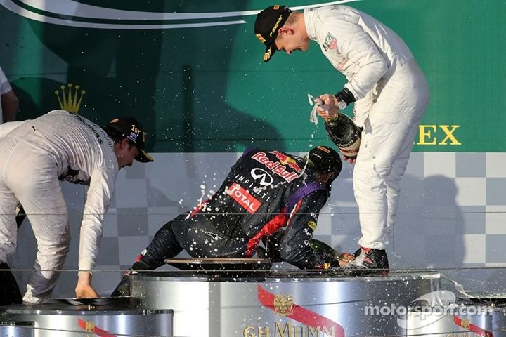 Podium party with Kevin Magnussen, Daniel Ricciardo and Nico Rosberg - 2014 Australian GP