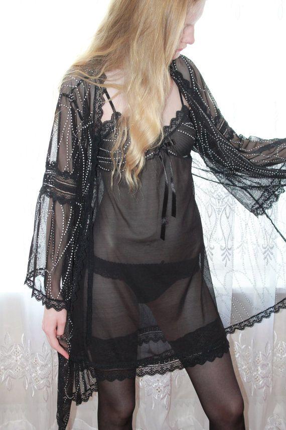 Сексуальная сорочка и пеньюар Черная жемчужина для от LaceAmyr, $156.00