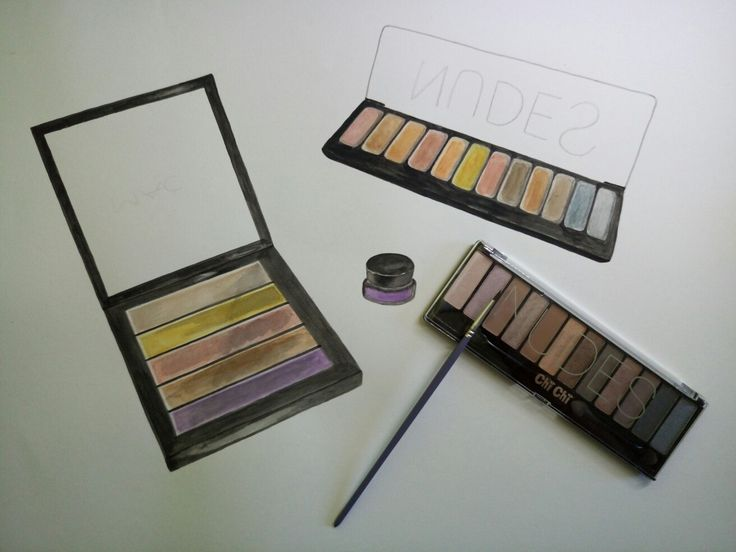 Watercolour drawing: eye shadow palettes. (process)