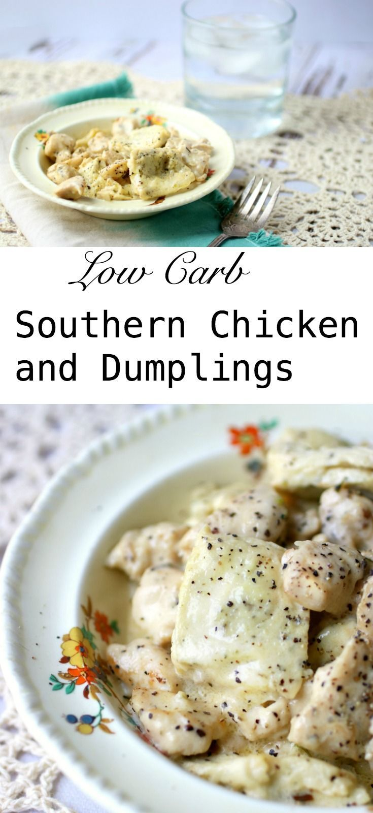 Easy, low carb Southern chicken and dumplings recipe is just jam-packed with old fashioned flavor! This family favorite has everything about traditional chicken and dumplings that you love but leaves out the pesky carbs. Stir up a pot of this home cooked comfort food and enjoy! Just 3 net carbs. #lowcarbrecipe #southerncomfortfood via @maryelowcarb-ology