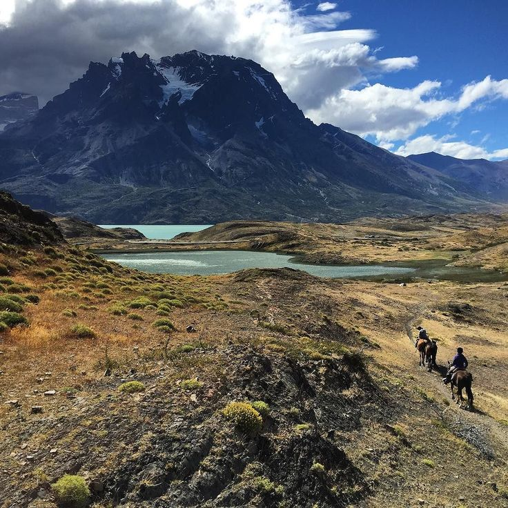 Riding through the heart of Torres del Paine National Park Southern Chile. #horseridingpatagonia #horse #horseriding #patagonia #holiday #vacation #horsebackriding #ridingholiday #torresdelpaine #guachos #glaciers