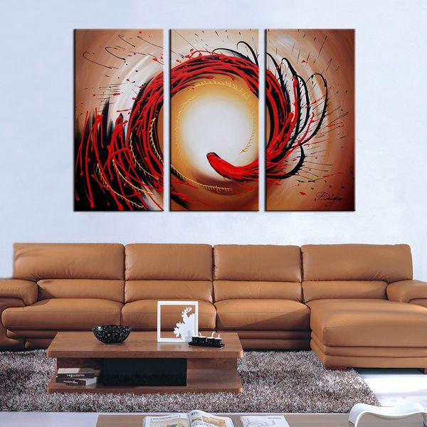 This Three Piece Painted Canvas Art Set Will Brighten Up Any Room The Modern Design And Bold Colors Are Hand Onto Gallery Wred Over Wood