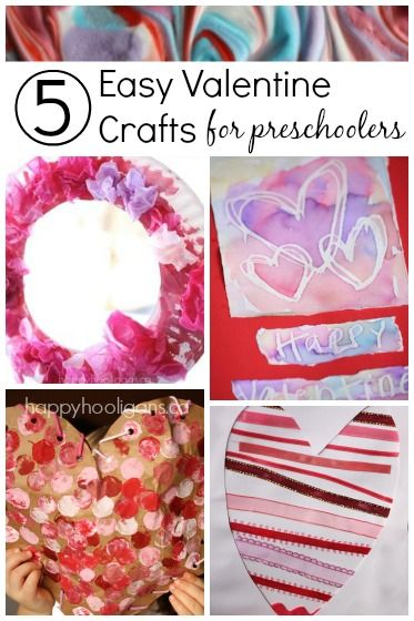 5 more fun and easy Valentine crafts for toddlers and preschoolers to make using common, household supplies. Great for home, daycare or preschool! - Happy Hooligans