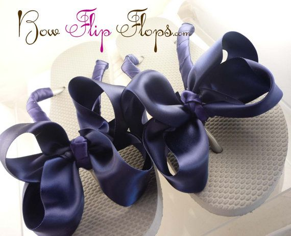 Bridesmaid Flip Flops Bridal Something Blue Bride Wedding Flip Flops Satin White Ivory Ribbon Bow flower girls, bridesmaids
