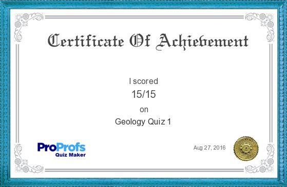Score Report: Geology Quiz 1 at Free Online Quiz School
