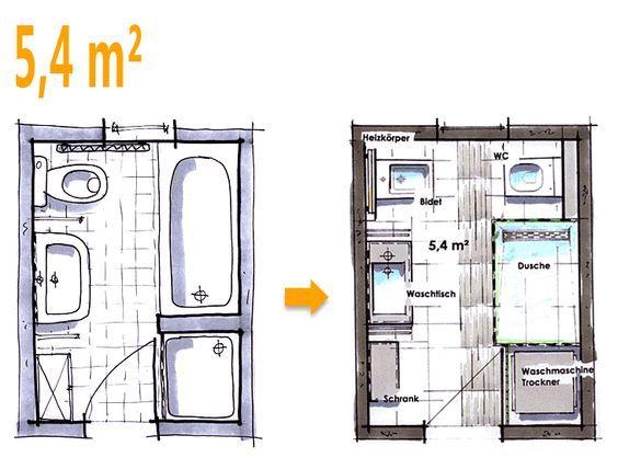 Badplanung beispiel 5 4 qm neue w nsche f r das neue bad for Aufteilung badezimmer
