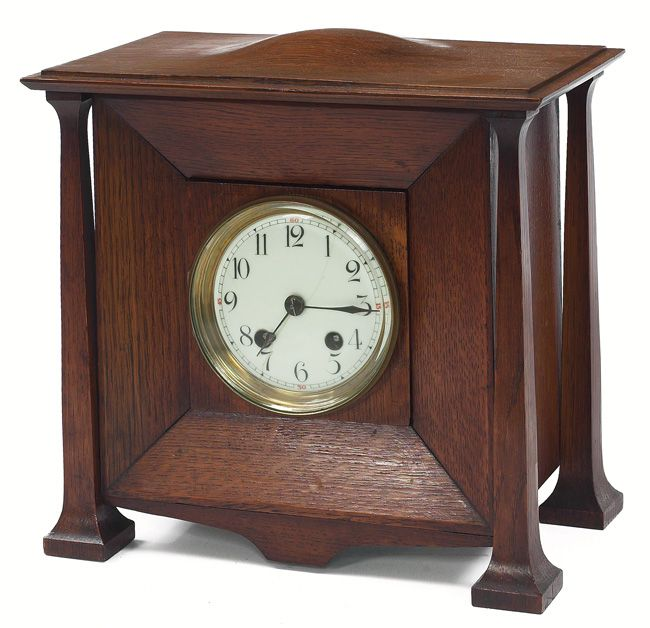 """Arts & Crafts oak mantle clock, probably English, excellent original finish, 12.5""""w x 7.5""""d x 10.5""""h     SOLD $1,700 Treadway Auction, May 7, 2006"""