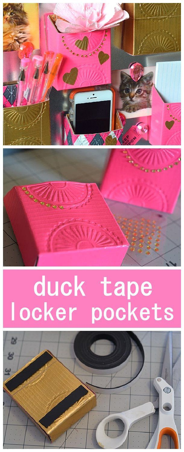 DIY Back to School Projects for Teens and Tweens - Do it Yourself Magnetic Duck Tape Locker Pockets - So FUN - tutorial via fiskars