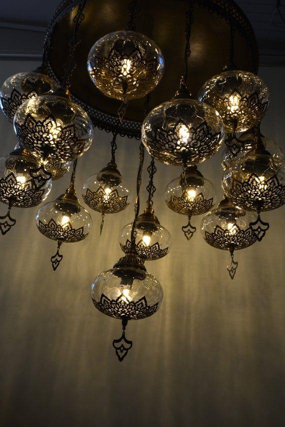 Laser colorfull Handmade turkish 15 globe stunning chandelier turkish mosaic lamps morrocan decor lighting ottoman lamps bohemian lamps