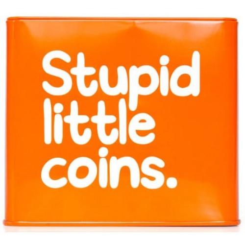 Stupid Little Coins Money Box Tin by Waldo Pancake from Sarah J Home Decor. $13.95