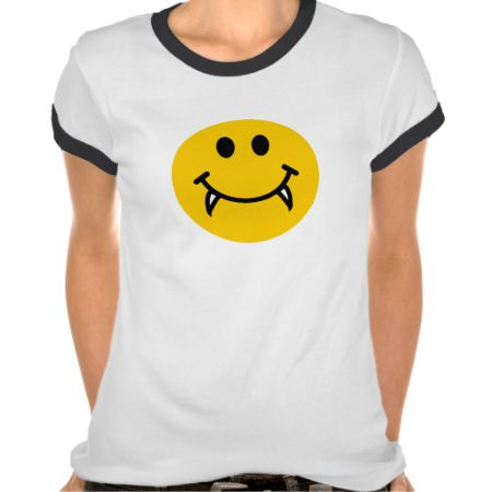 Vampire smiley face with fangs t shirts