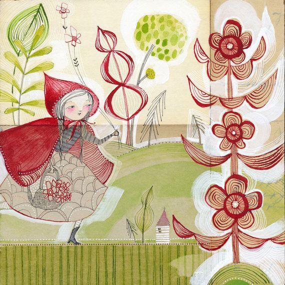 poco rojo caballo a chica capucha - art impresión - cabo - edición limitada de 8 x 8 pulgadas archivo... a ella fue por cori dantini