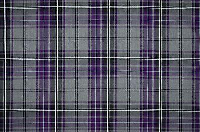 P/M Adara Blackberry Purple & Grey Tartan Check Curtain Light Upholstery Fabric