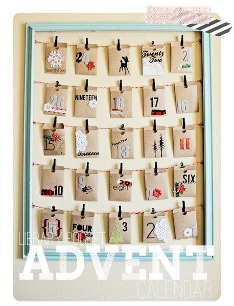 The Library Pocket Calendar | 33 Clever And Adorable DIY Advent Calendars could use Ella's dinner money envelopes!