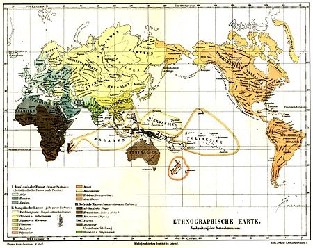 """The 4th edition of Meyers Konversationslexikon (Leipzig, 1885-1890) shows the Caucasian race (in various shades of grayish blue-green) as comprising Aryans, Semites, and Hamites. Aryans are further subdivided into European Aryans and Indo-Aryans (the term """"Indo-Aryans"""" was then used to describe those now called Indo-Iranians)."""