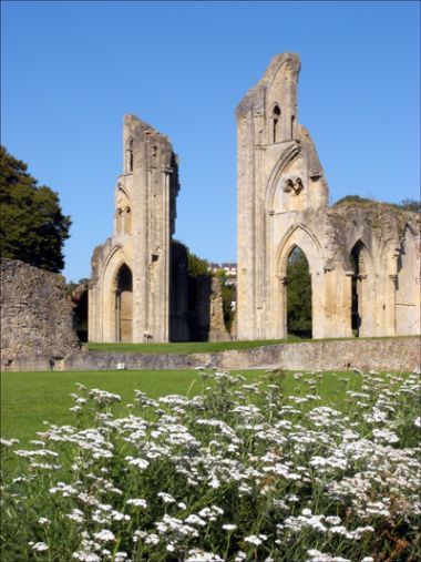 Glastonbury Abbey, Somerset, England, there are many legends surrounding the once greatest and richest abbey in England. It is said King Arthur and Guinevere were buried at the site, and that Joseph of Arimathea planted the holy thorn nearby. circa 712AD