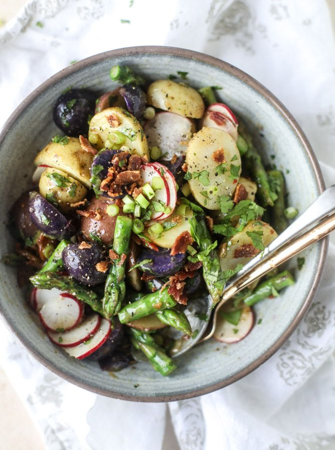 asparagus potato salad with hot bacon dressing I howsweeteats.com
