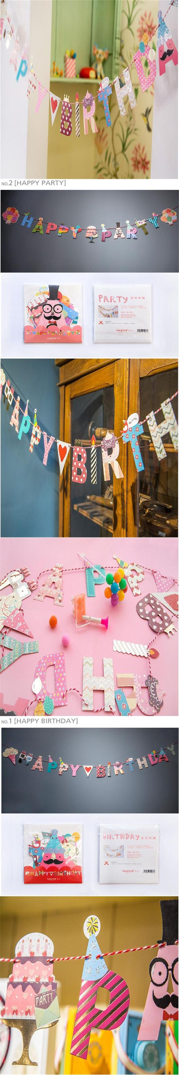 """1pcs letter """"happy birthday"""" flags Garland  Birthday party Pennant Flag Wedding Home room Decor event supplies decoration-B"""
