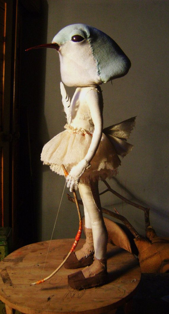 Lunar Doll- Sculpture- Only for comission- Textil -whith animals heads -