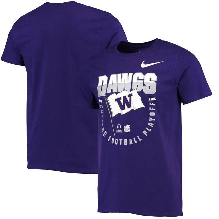 Washington Huskies Nike College Football Playoff 2016 Peach Bowl Bound Flag T-Shirt - Purple - $20.79