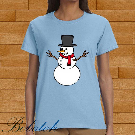 snowman christmas design for men and women t-shirt by bobotooh